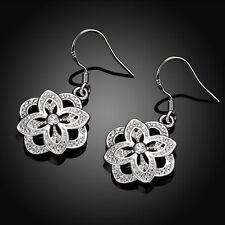Fashion Lady Sterling Plated Flower Dangle Drop Wedding Hook Silver Earrings