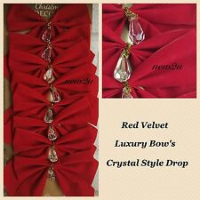 8 x Luxury Red Velvet & Crystal Festive  Christmas Tree Bows Decoration Xmas