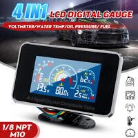 Oil Pressure Fuel Water Temp Gauge 4 In1 LCD Car Digital Alarm Gauge Voltmeter