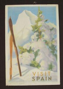 Visit Spain Jose Morell Spain 1939 Poster Original Skiing Winter Sports Tourism