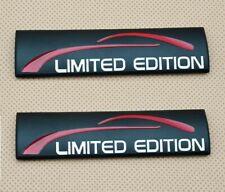 2 x Black Metal Limited Edition Side Wing Logo Badge Sport Rear Emblem Sticker