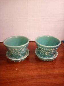 Vintage Mccoy 3 Inch Planters lot of 2 blue/green color