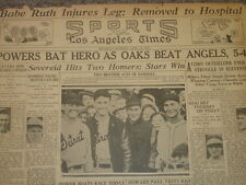 April 23, 1931 'Los Angeles Times' Newspaper Page-Babe Ruth Injured / Waner Bros