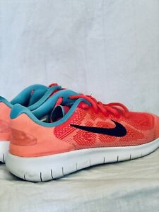 Girl's Nike FREE RN Sneakers Size: 4.5 Youth; Melon/Black/Turquoise. Pre Owned