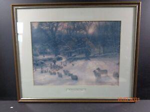 Joseph Farquharson Vintage Oak Frame Print The Shortening Winter's Day Sheep