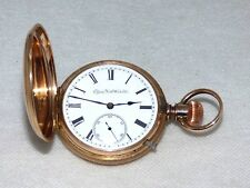 1888 ELGIN Solid 10Kt Gold Hunter Pocket Watch Wt 96Gr Orig Enamel Dial MINT