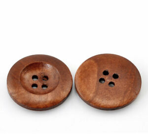 """50PCs Wood Sewing Buttons Scrapbooking 4 Holes Round Mixed 25mm (1"""") Dia"""