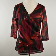COLDWATER CREEK M 10 12 Poly Faux Wrap Pullover Top NEW Shirt Ruched Top