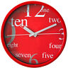 Round Wall Clock - PERFECT - Red Case + Dial , Extraordinary Design