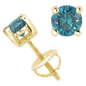 0.55CT Blue SI1-SI2 Genuine Diamond 14K Yellow Gold Men's Single Stud Earring