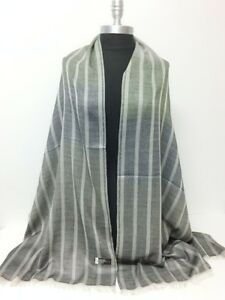 New Men's Ombre Stripes sheer panel Long Scarf Soft Shawl Wrap Black Silky Soft