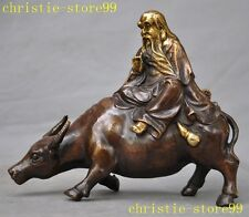 old Chinese Bronze gilt Old Man Laozi Lao Tzu Ride Ox Oxen Cattle Animal Statue