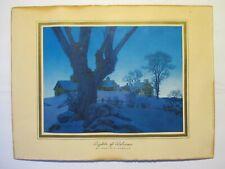 "maxfield parrish original print ""lights of welcome"" winter landscape"