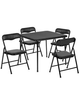 Flash Furniture 5 Piece Square Faux Leather Top Kids Folding Table Set in Black