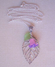 "Pretty Pink Purple Flower and Leaf Pendant 30"" Chain Necklace"