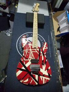 EVH Striped Series Strat Van Halen Electric Guitar Red w/ Black Stripes
