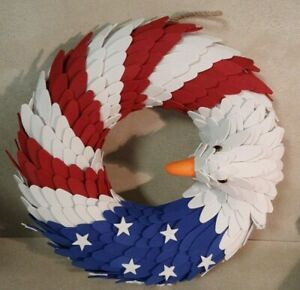 "American Eagle 14"" Wreath Patriotic Made of Weather Resistant Foam"