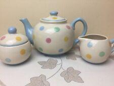 Price & Kensington Tea Set Teapot Milk Jug Sugar Bowl Multi Coloured Spot