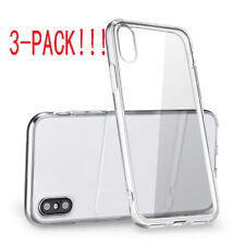 For iPhone X (3pcs) Case Crystal Clear Bumper Silicone Gel iPhone 10 Soft Cover