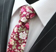 Tie Neck tie Slim Wine Red  with Floral Quality Cotton T6168