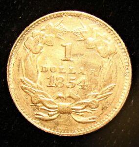 1854 G$1 Gold Dollar, Type Two.
