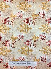 Wilmington Fabric - Windflower Daphne B Floral Damask Beige Mustard YARDS