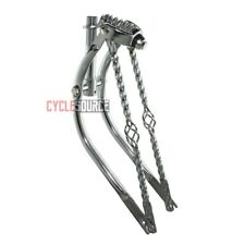 "20"" Bent Cage Bars Square Twisted Spring Fork 1"" Chrome Lowrider Bike Bicycle"