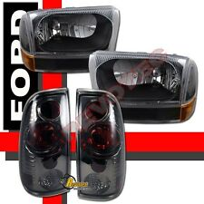 99-04 Ford F250 F350 Super Duty Pickup Black Headlights Set & Tail Lights Smoke