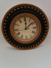 Round Wooden Wall Clock Port Hole Style Vintage Black & Gold