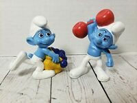 CAKE TOPPER 2011 Peyo Smurfs Mcd's Figures Lot of 2 Vintage Rare Characters