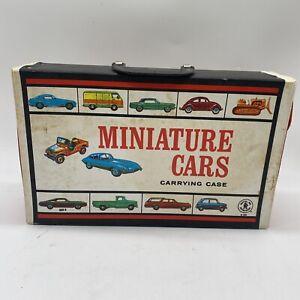 Vintage 1966 Mattel Black Miniature Cars Carry Case w/ Vintage Matchbox Cars