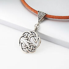 Vintage Silver Alloy Round Knot Celtic Pendant 3mm Brown Leather Tribal Necklace