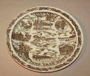 Maine State Collector Plate Vernon Kilns USA Pine Tree State Portland Headlight