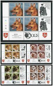 Isle of Man Scott #717-721 MNH BLOCKS w/LABELS Dogs FAUNA CV$23+