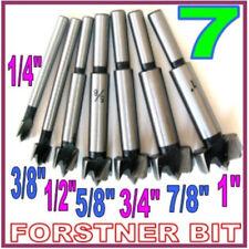 """7 pc Forstner Bit 1/4, 3/8, 1/2, 5/8, 3/4, 7/8, 1"""" Set  sct 888"""