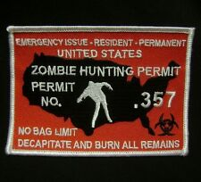 ZOMBIE HUNTING PERMIT .357 OUTBREAK RESPONSE TEAM HUNTER RED SWAT IRON ON PATCH