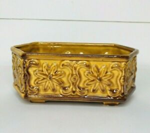 Vintage Floral Planter Ceramic Pottery Gold And Brown*