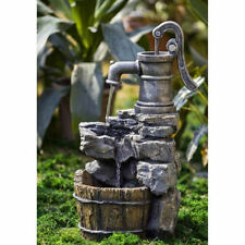 Realistic painted Water Pump and Faux Rock Fountain With Metal Like Handle
