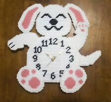 Handmade - Lucky Dog Needlepoint Working Wall Clock - Very Unique