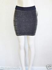 GUESS Women's Petite Slip On Stretch Mini Skirt - Glitter Black sz XS/S