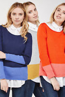 Womens Colour Block Jumper Sweater Top Grey Mustard orange Pink Navy Purple Knit