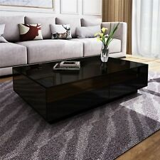 c1faff299287 Modern Black High Gloss Rectangle Coffee Tea Table Solid with 4 Storage  Drawers