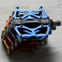 """2* MTB Aluminium Alloy Mountain Bike Bicycle Cycling 9/16"""" Pedals Flat 4 Colours"""