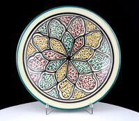 """DAVIS AND WADDELL TERRA SIENA POTTERY MULTI COLOR ABSTRACT 9"""" SHALLOW BOWL"""