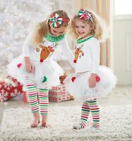 NEW Baby Kids Girls Christmas Reindeer Top & Pom Pom Tutu Legging Size 1.2.3.4.5