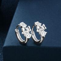 Fashion Jewelry 18k White Gold Plated Crystal Hoop Huggie Earrings Pierced