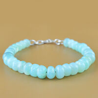 STYLISH 158.70 CTS NATURAL RICH BLUE CHALCEDONY UNTREATED ROUND BEADS BRACELET