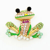 Betsey Johnson Green Enamel Crystal Cute Frog Charm Animal Brooch Pin Gift