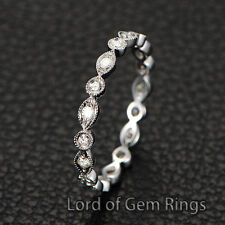 Wedding Band 1.5mm  Moissanite 14K White Gold Eternity Ring,Art Deco Antique 5#