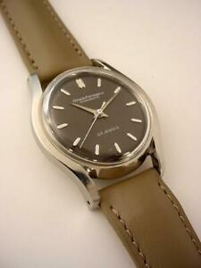 Excellent Vintage 1950's GIRARD PERREGAUX Gyromatic 23 Jewels STEEL  BLACK DIAL
